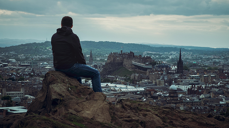 Looking out across Edinburgh