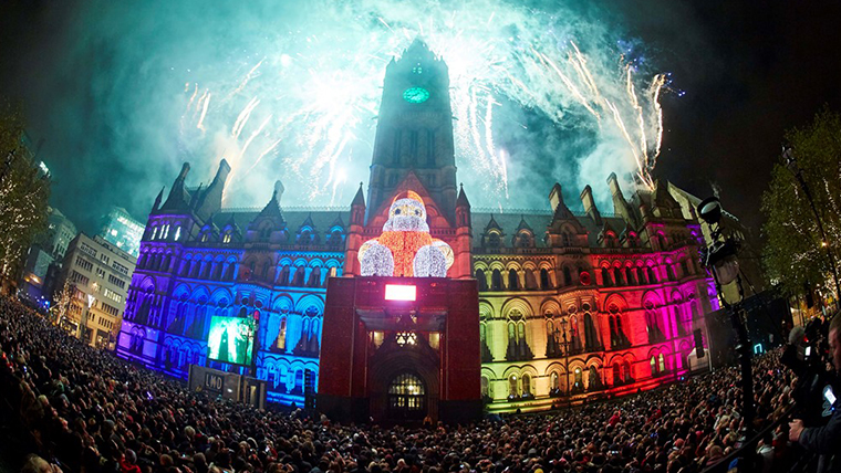 Christmas lights switch on at Manchester Town Hall, Albert Square