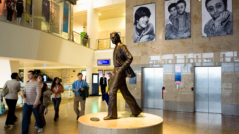 John Lennon statue in Liverpool airport