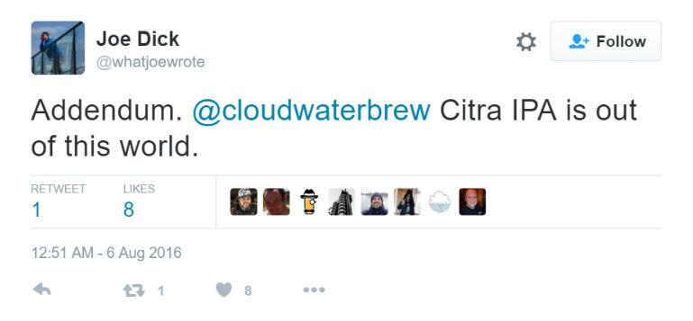 Cloudwater IPA tweet