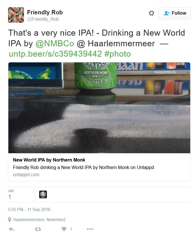 New World IPA tweet