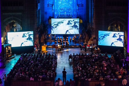 Musicians playing in Liverpool Cathedral