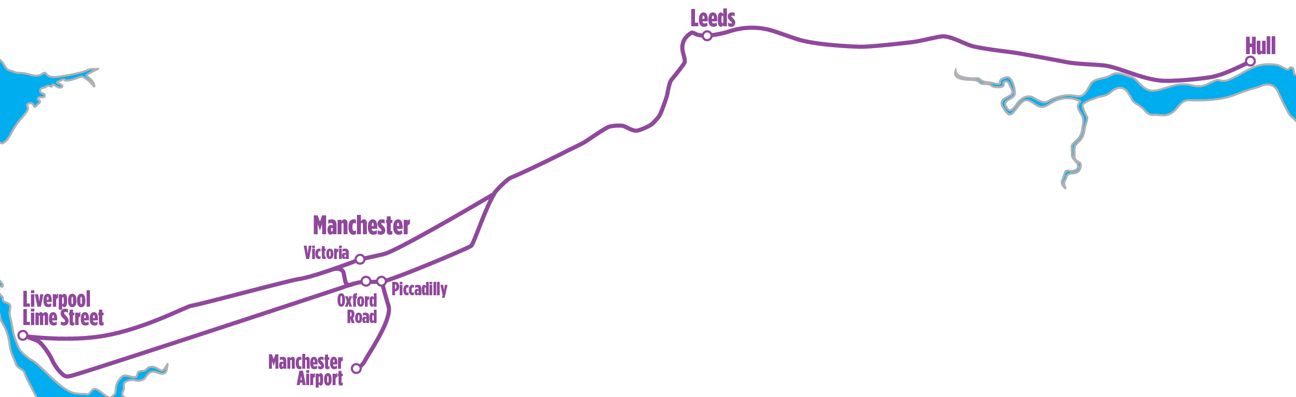 Liverpool to Hull route map